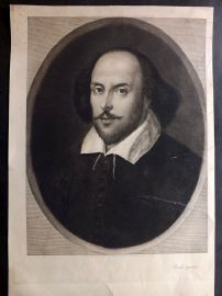 Leopold Flameng 1890 Very Large Portrait Etching of William Shakespeare